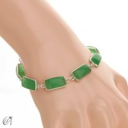 Silver bracelet with rectangular gems - green sapphire