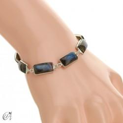 Silver bracelet with rectangular gems - labradorite