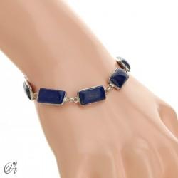 Silver bracelet with rectangular gems - lapis lazuli