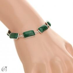 Silver bracelet with rectangular gems - malachite