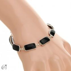 Silver bracelet with rectangular gems - onyx