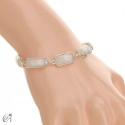 Silver bracelet with rectangular gems - moonstone