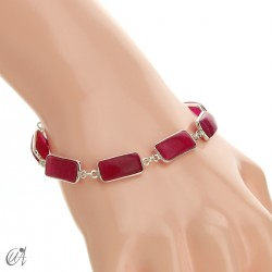 Pulsera de plata con gemas rectangulares - rubí