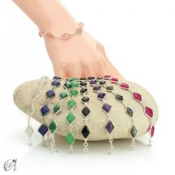 Rhombus, silver and stones bracelet