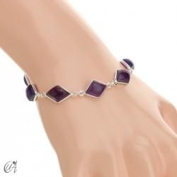 Rhombus, silver and stones bracelet  - amethyst