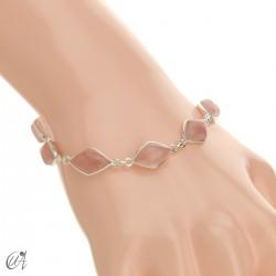 Rhombus, silver and stones bracelet - rose quartz