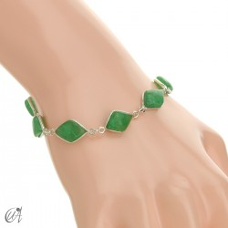 Rhombus, silver and stones bracelet - green sapphire