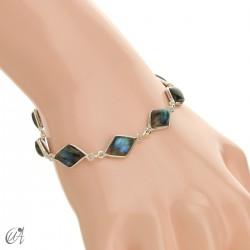 Rhombus, silver and stones bracelet - labradorite