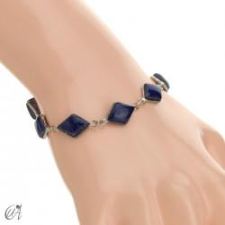 Rhombus, silver and stones bracelet - lapis lazuli