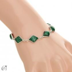 Rhombus, silver and stones bracelet - malachite