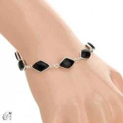 Rhombus, silver and stones bracelet - onyx