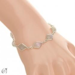 Rhombus, silver and stones bracelet - moonstone