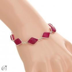 Rhombus, silver and stones bracelet - ruby
