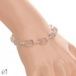 Silver bracelet with stones, rectangles - rose quartz