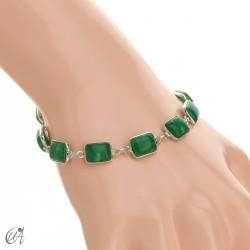 Pulsera de plata con piedras, rectángulos - zafiro verde