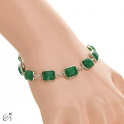 Silver bracelet with stones, rectangles - green sapphire