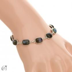 Silver bracelet with stones, rectangles - labradorite