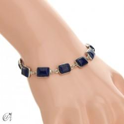 Silver bracelet with stones, rectangles - lapis lazuli