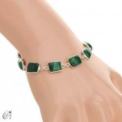Silver bracelet with stones, rectangles - malachite