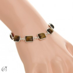 Silver bracelet with stones, rectangles - tiger eye