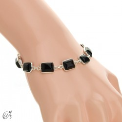 Silver bracelet with stones, rectangles - onyx