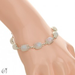 Silver bracelet with stones, rectangles - moonstone