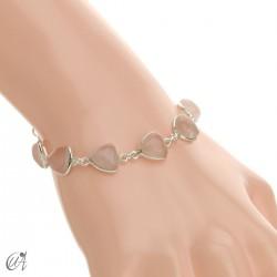 Silver bracelet and gems, threshing -  rose quartz