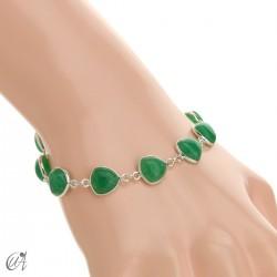 Silver bracelet and gems, threshing -  green sapphire