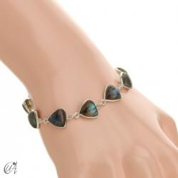Silver bracelet and gems, threshing -  labradorite