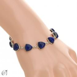 Pulsera de plata y gemas, trillante - lapislázuli