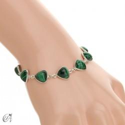 Silver bracelet and gems, threshing -  malachite