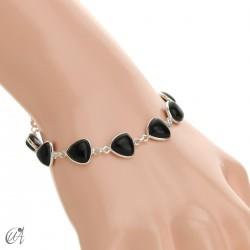 Silver bracelet and gems, threshing -  onyx