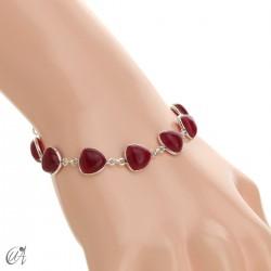 Pulsera de plata y gemas, trillante - rubí