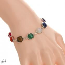 Chakra stones bracelet in sterling silver - cushion model