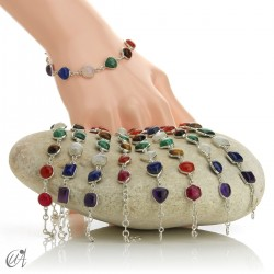 Bracelet with the stones of the Chakras in sterling silver