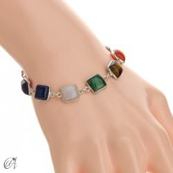 Chakra stones bracelet in sterling silver - square model