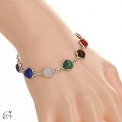 Chakra stones bracelet in sterling silver - pear model