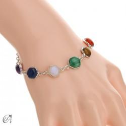 Chakra stones bracelet in sterling silver - hexagonal model