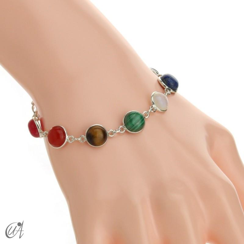Chakra stones bracelet in sterling silver - round model