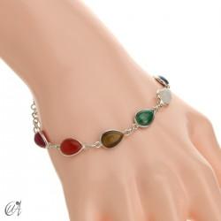 Chakra stones bracelet in sterling silver - drop model