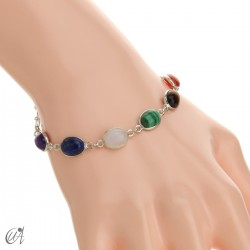 Chakra stones bracelet in sterling silver - oval model