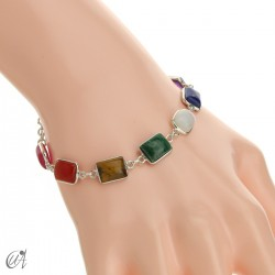 Chakra stones bracelet in sterling silver - rectangular model