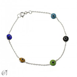 Silver chain bracelet with Turkish eyes