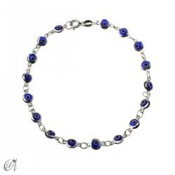 Turkish evil eye sterling silver bracelet - dark blue
