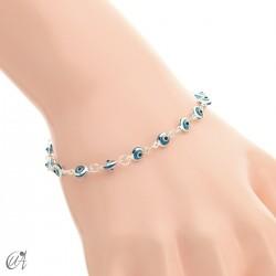 Turkish evil eye sterling silver bracelet - blue