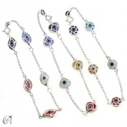 Amulet bracelet against the evil eye in sterling silver