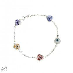 Amulet bracelet against the evil eye in sterling silver - heart