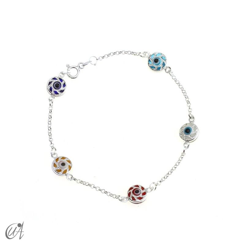 Amulet bracelet against the evil eye in sterling silver - round