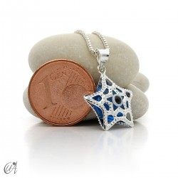 Sterling silver star with Turkish Evil Eye pendant