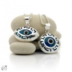 Openwork turkish evil eye pendant in 925 silver